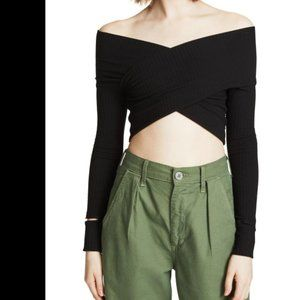 LNA Aster Off The Shoulder Black Crop Sweater sz S